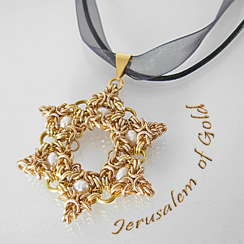 golden magen david chainmaille necklace